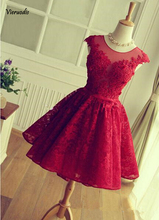 Red Lace Appliques Homecoming Dress 2019 Scoop Neck Sleeveless Short Party Gowns Backless Cocktail Dresses Custom exquisite jewel sheath lace sleeveless short homecoming dress