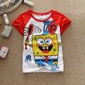 2016 meninas de verão meninos t-shirt camisas Bob esponja Shopkins blusa crianças bebê próximos crianças roupas dos desenhos animados cotton Tops & t Spongebob