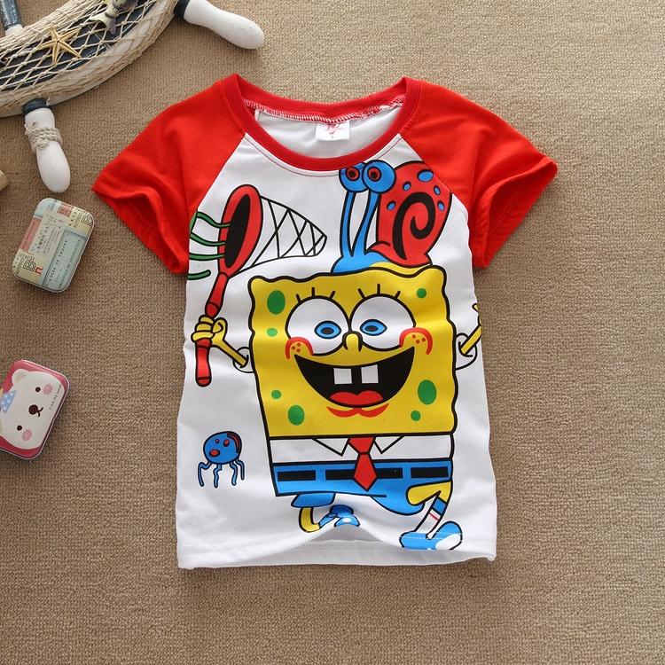 2016 summer Girls boys t-shirts Bob esponja Shopkins Children Baby Blouse next kids clothes cartoon cotton Tops&Tees Spongebob