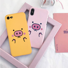 Pink Cute Piggy Phone Case For iPhone X XR XS MAX Cases For iphone 8 7 6 Plus 5 SE Yellow Puppy Soft Silicone Back Cover cute silicone stand audio amplifier for iphone 5 pink