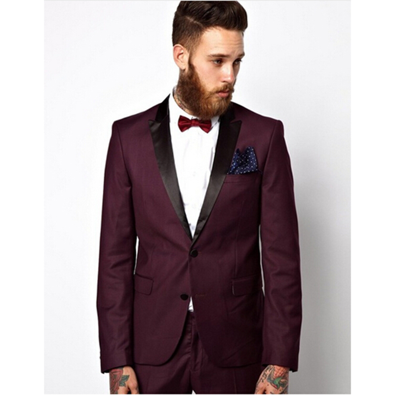 jacket+pants+bow Tie W:53 High Quality Black Mens Suits Groom Tuxedos Groomsmen Wedding Party Dinner Best Man Suits