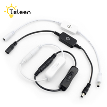 TSLEEN In Line Power Cable White Connector Jack Wire ON/OFF Switch 2 Types for CCTV LED Strip Light DC 12-24V цена 2017