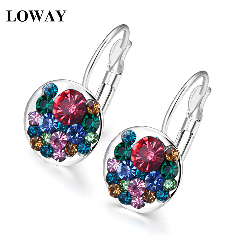 LOWAY Big promotion Full Multicolor Crystal 10 Colors Small Hoop Earrings For Women New Fashion Jewelry ED2042