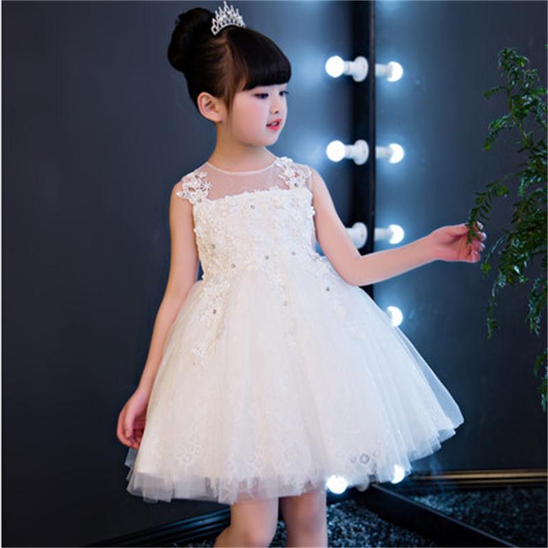 High quality children's dress Princess Tutu flower girl small wedding birthday dress girls dance piano costumes