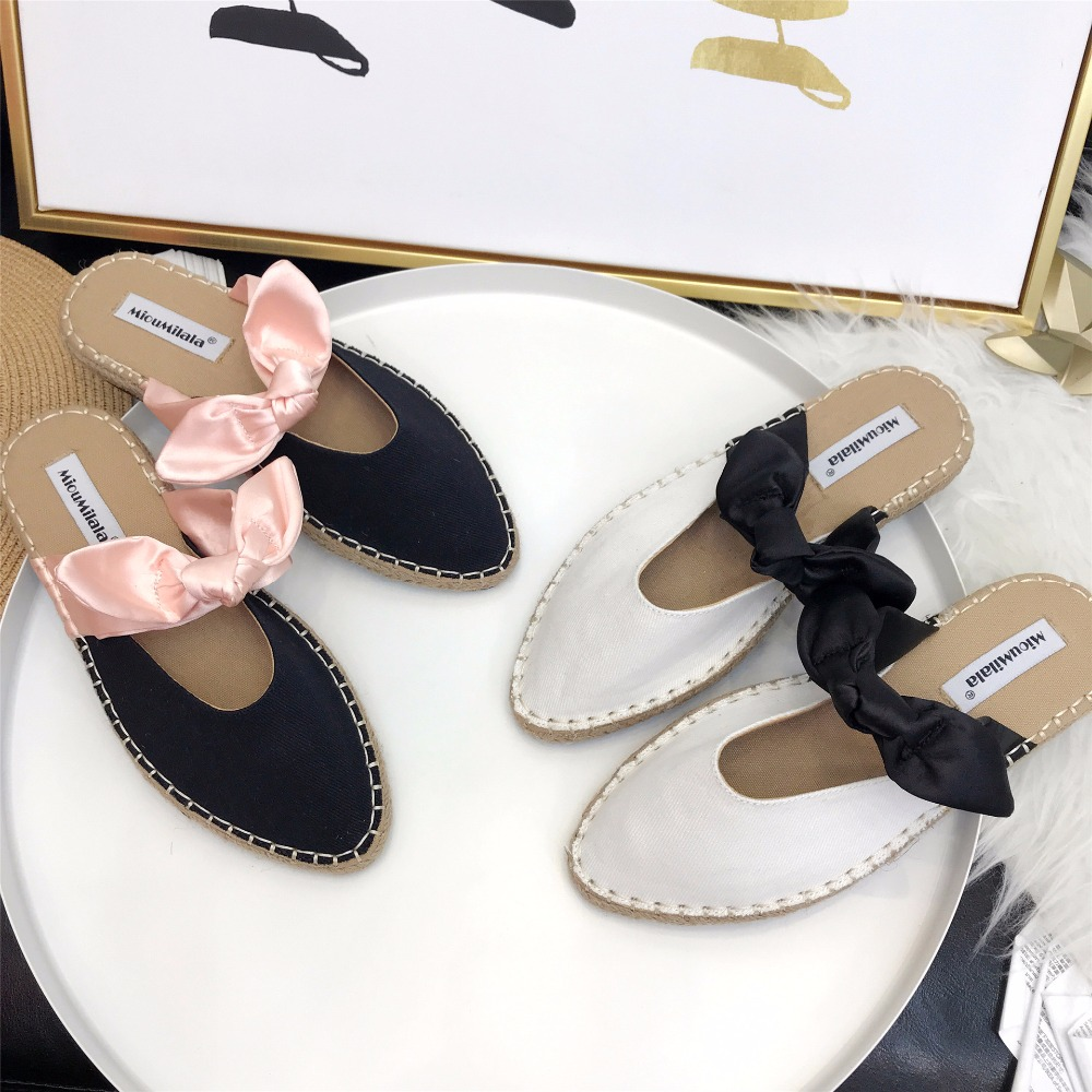 035380f6acd1f Canvas Women summer mules shoes new brand bow-knot beach flat sandal cane  knitted slide pointed toe slipper anti-skid flip flop