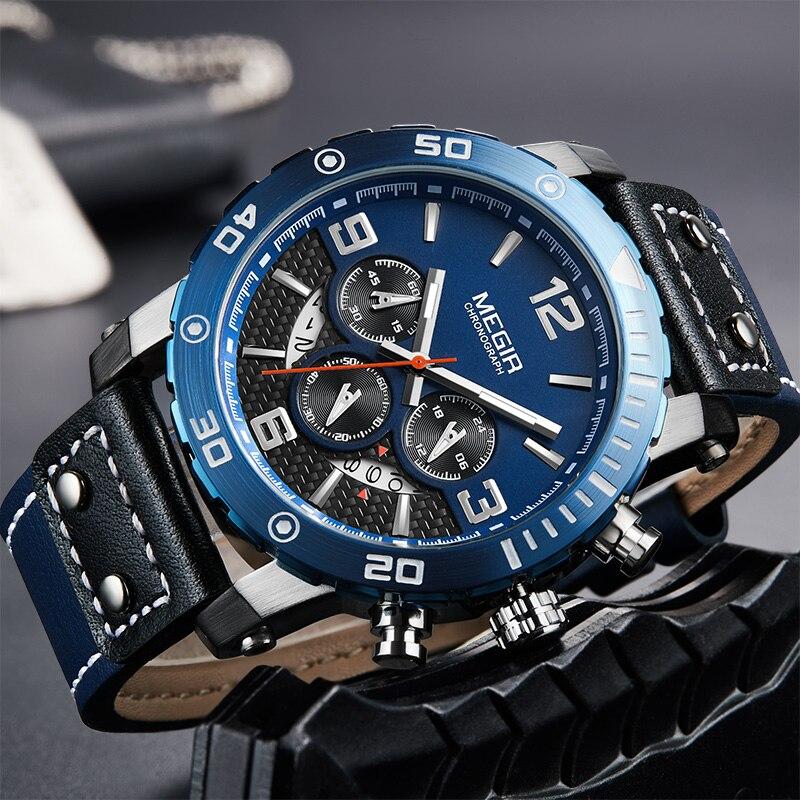 где купить Megir Chronograph Watches Men Waterproof Men's Sport Leather Blue Male Clock Quartz Watches Men Luxury Brand Wrist Watch Man по лучшей цене