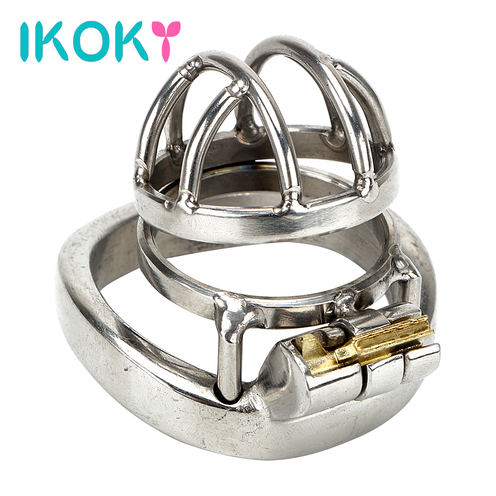 IKOKY Cock Lock Sex Toys For Men Male Adult Games Lockable arc-shaped Ring Stainless Steel Male Chastity Device Sex Products