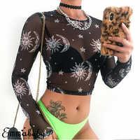 2019 Women Sexy Harajuku Mesh Tops Long Sleeve See Through T Shirt Transparent Sun Moon Star Print T-shirt Femininas Clubwear