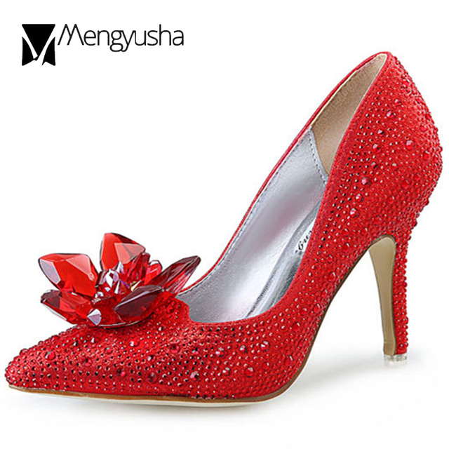 3a7ba6d997c famous brand big rhinestone flower high heels wedding shoes woman ladies  silver red crystal glitter pumps big size 34-43 c634