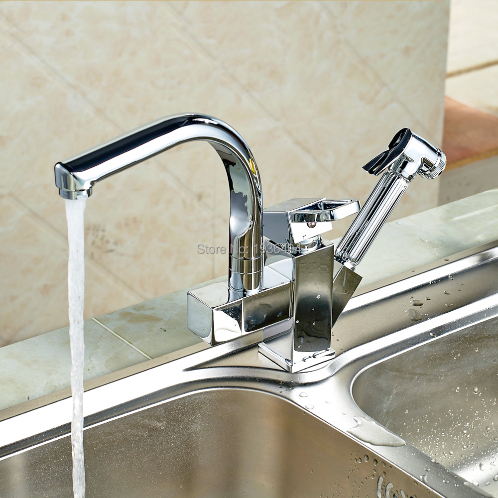 Deck Mounted Chrome Brass Kitchen Faucet Pull Out Sprayer Vessel Bar Sink Faucet Single Handle Hole Mixer Tap 1176C цена и фото
