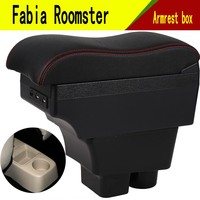 For Skoda Roomster Armrest Box Car Center Storage Box With Cup Holder Arm Rest Rotatable Car styling Interior Accessories