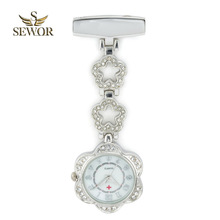 SEWOR 2019 Luxury Womens Quartz Nurse Pendant Watches Chic Five star Stainless Steel Crystal Pocket Watches Ladies Favorite C182