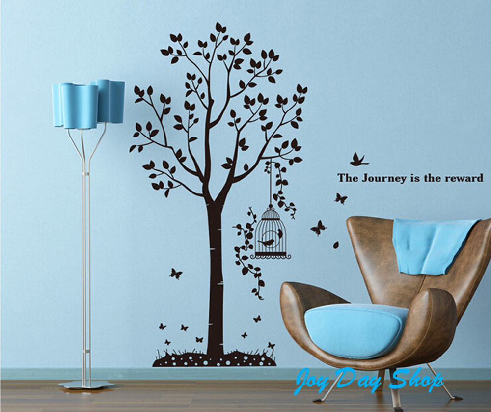 The living room background diy stickers black tree birds for Black tree mural
