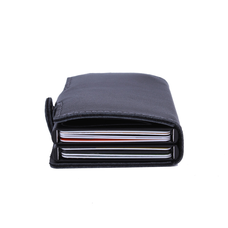 Gibo Auja - Brand 100% Genuine Leather Men Wallets Automatic Double Credit Card Holder Card Case Organizer Antitheft RFID Wallet