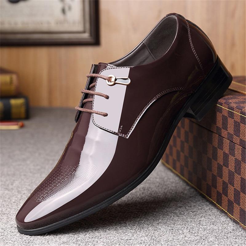 ede0e7de7f253d 2019 Pour Chaussures Marque Homme Derbies En Mens Hommes Italien Noir  Classique Bout Luxe Robe Menpatent Noir marron ...