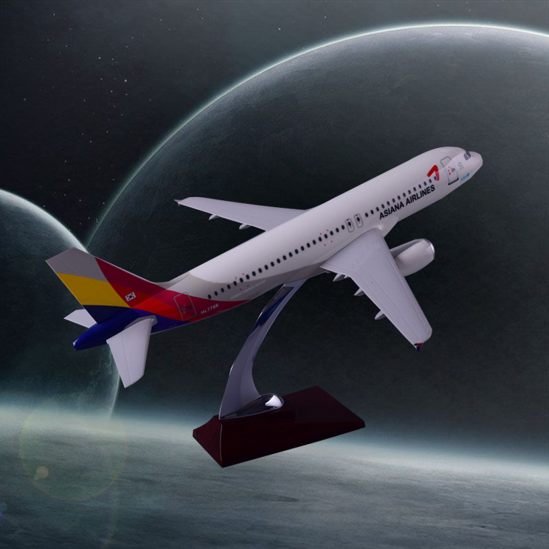 Prenoy 37cm Asiana Airlines Resin Aircraft Model A320 Airbus Airplane Model Airways International Aviation Stand Craft Model Toy offer wings xx2615 special jc cuba aviation ei tlj 1 200 a320 commercial jetliners plane model hobby