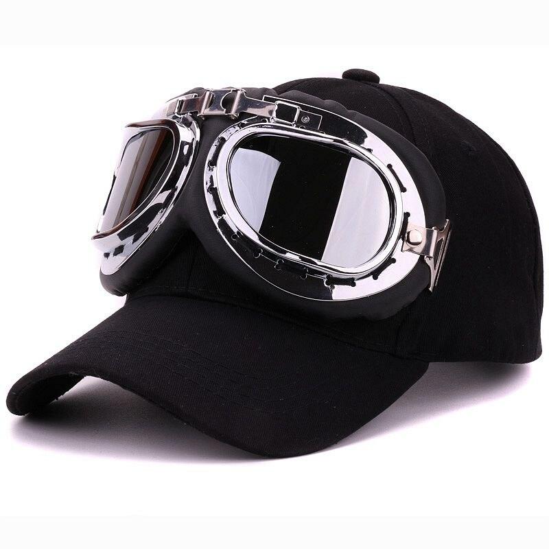 Prix pour Fantaisie coton 6 panneaux ski lunettes casquette de baseball avec poli lunettes de sport caps décoration nouveauté halley chapeau pour hommes et femmes