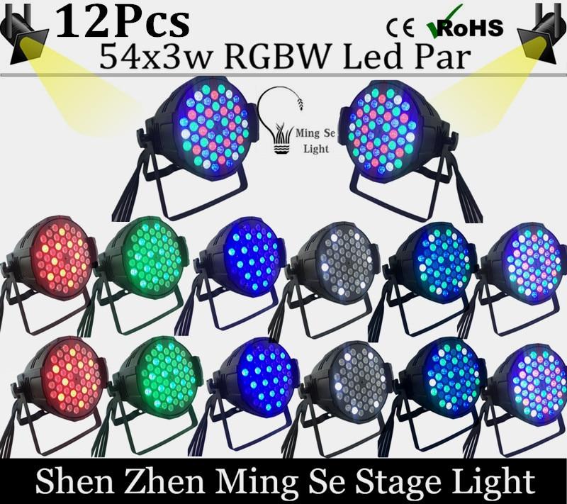 12Pcs / lots 54X3W RGBW LED Par Light  R12 G18 B18 W6 LED PAR DMX512 controller led lights, disco lights DJ equipment