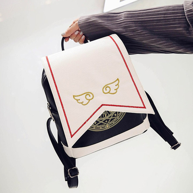 Anime tarjeta Captor SAKURA Kawaii pequeña mochila Sakura Cardcaptor impresión mochilas escolares Lolita mujeres mochila con alas de Ángel