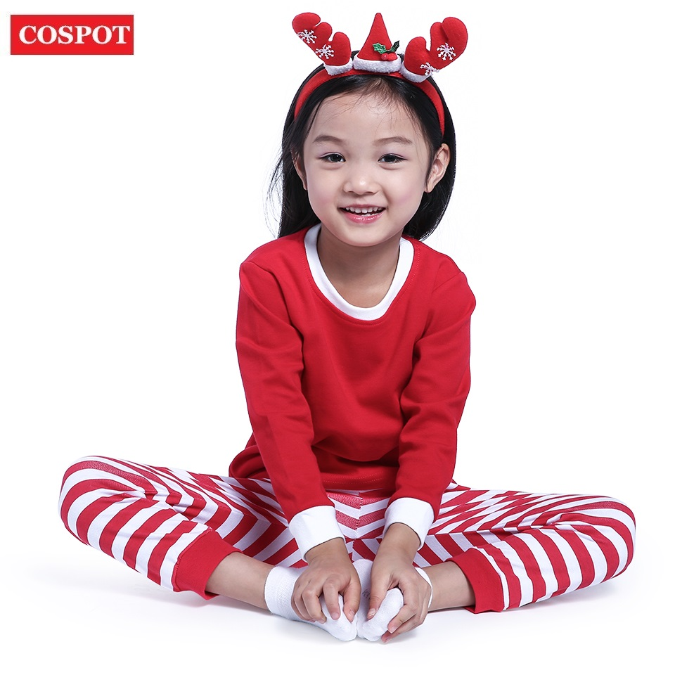 COSPOT Baby Boys Girls Christmas Pajamas Kids Long Sleeve Xmas PJS Cotton Pajamas Children Striped Night