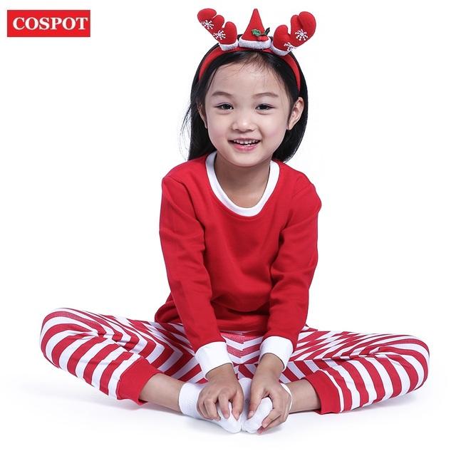 COSPOT Baby Boys Girls Christmas Pajamas Kids Long Sleeve Xmas PJS Cotton Pajamas Children Striped Night Wear 2017 New 30D