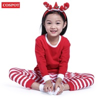 2017 Baby Boys Girls Christmas Pajamas Kids Long Sleeve Xmas PJS Cotton Pajamas Children Autumn Clothing