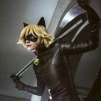 Full Set Of Miraculous Ladybug Jumpsuite Adrien Agreste Black Cat Noir Cat Suit Cosplay Costume Halloween