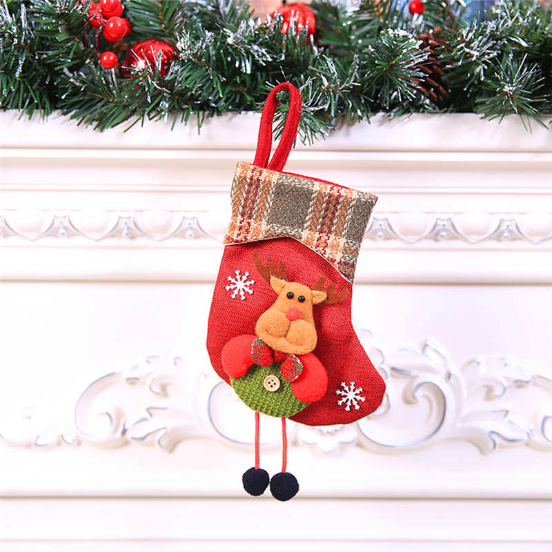 Mini Christmas Stockings Socks Santa Claus Candy Gift Bag Christmas Decorations for Home Festival Party Ornaments  #2o22 (5)