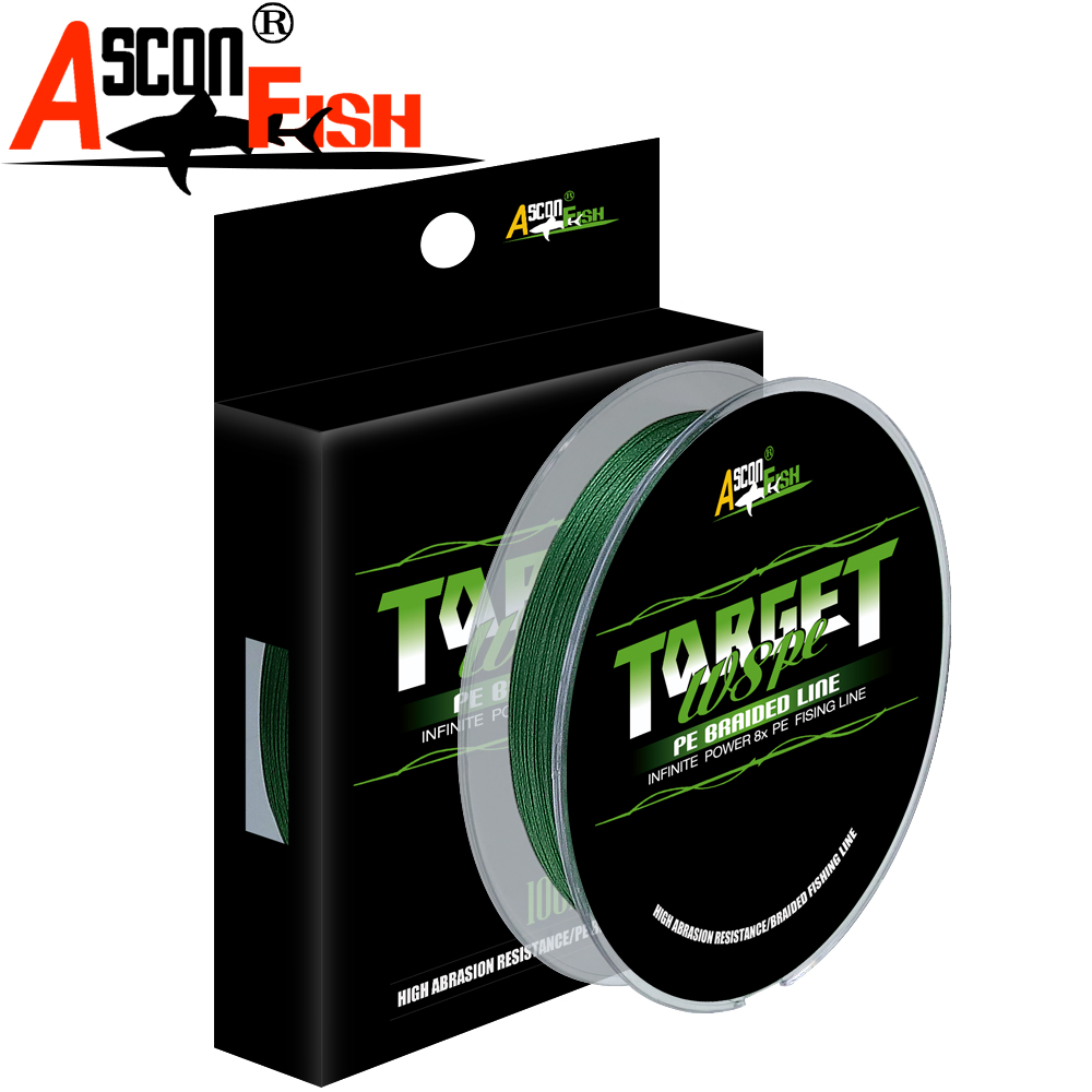 Ascon Fish Braid 8 Strands Multifilament Fishing Line 8 Wire 100m Braided Line for Cord Fishing Carp 6-300LB Green