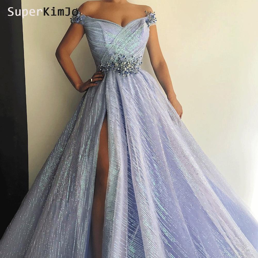 SuperKimJo Deep V Neck   Prom     Dresses   2019 Beaded Off the Shoulder Elegant Arabic   Prom   Gown Vestido De Festa