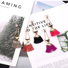 Rhombus Alloy Hook With Tassel Court Style Drop Earrings For Women Vintage Ethnic