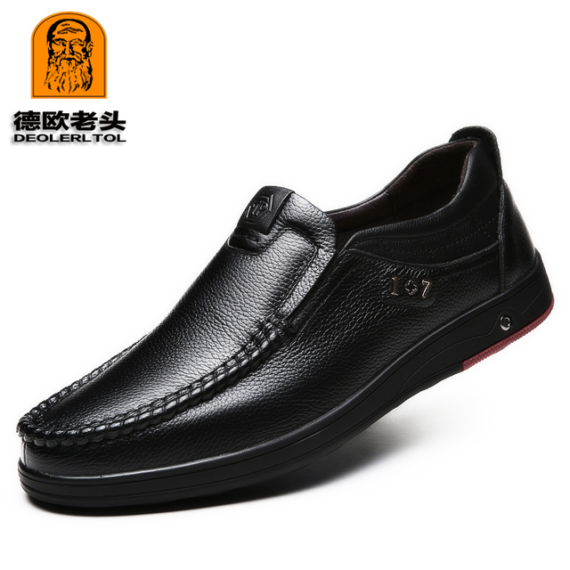 2019 Newly Men's Genuine Leather Shoes Size 38-47 Head Leather Soft Anti-slip Driving Shoes Man Spring Leather Shoes