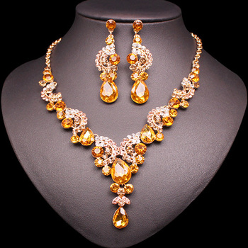 Fashion Crystal Jewelry Sets Jewelry Jewelry Sets Women Jewelry Metal Color: 2 pcs suit yellow