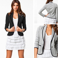 Women's Casual OL Two Buttons Pocket Blazer Long Sleeve Shawl Lapel Coat Suit