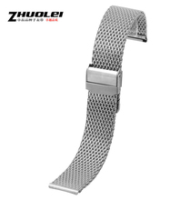 Nueva Shark Mesh 20 mm 22 mm cepillado 316L Solid Stainless Steel Watch band