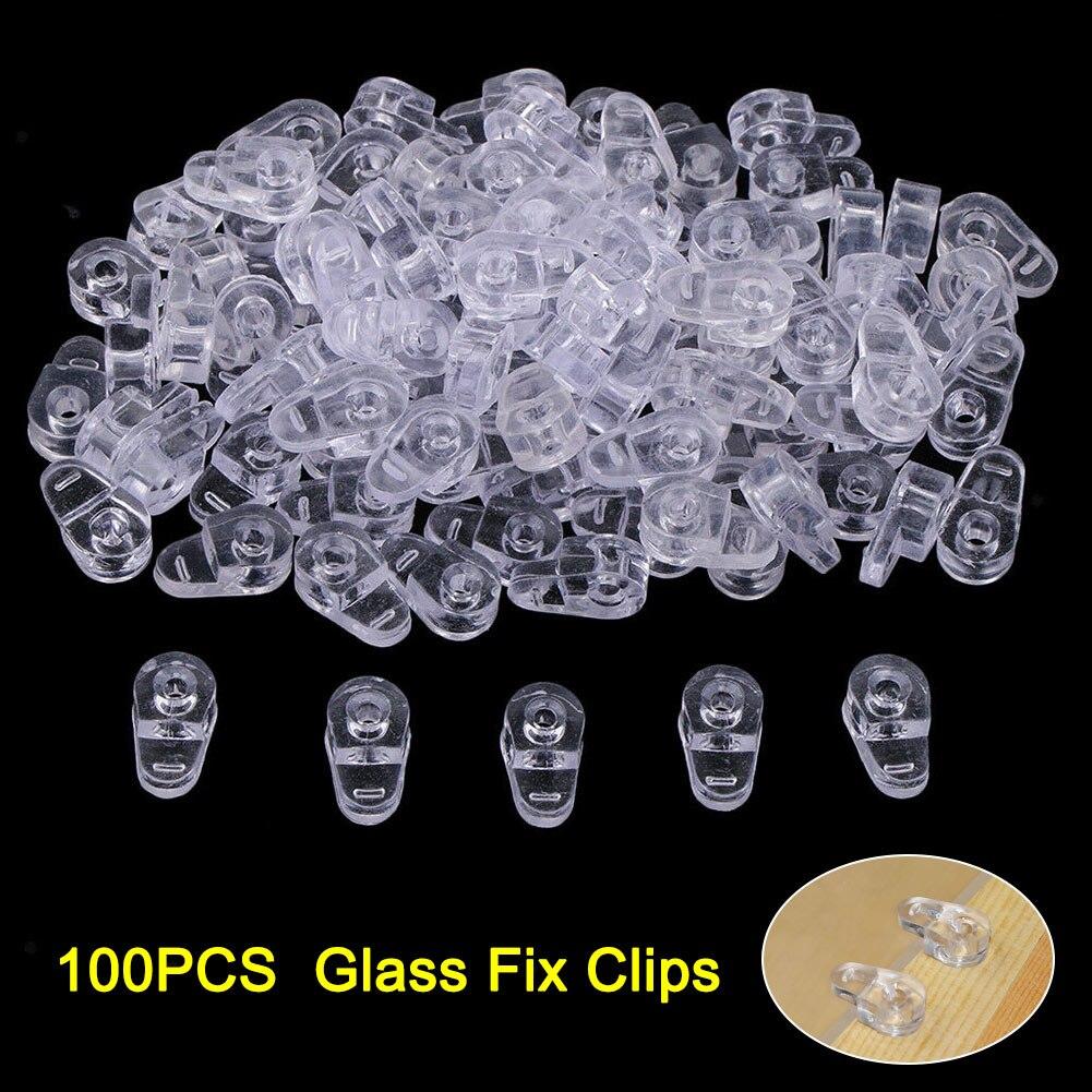 100PCS Plastic Glass Retainer Transparent Mirror Cabinet Fix Clips --M25