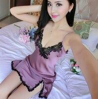 Women Sexy Silk Satin Nightgown Sleeveless Nighties V Neck Night Gown Summer Sleep Dress Embroidery Night