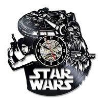 Han Solo Art Star Wars Darem Vinyl Record Zegar Ścienny Wentylator Czarny Wystrój Pokoju Pomysł LED z 7 kolorów