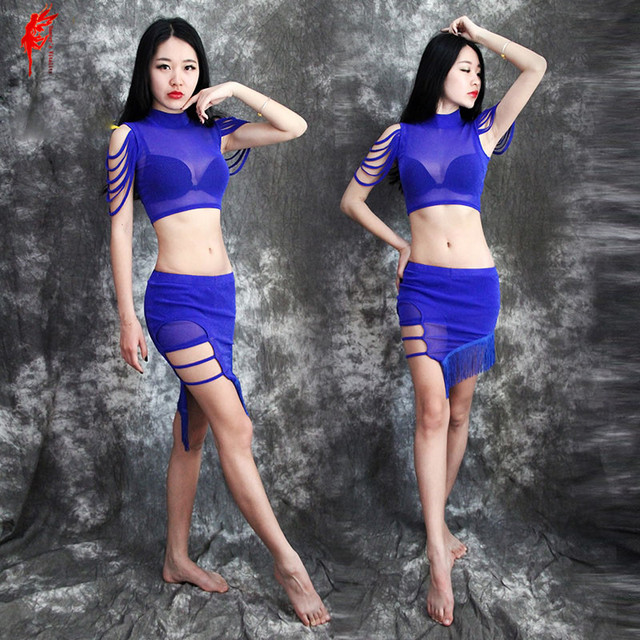 48bbe3a550ae98 Women belly dance set mesh short sleeves+tassel skirt 2pcs belly dance suit  girls belly dance clothes lady belly dance clothing