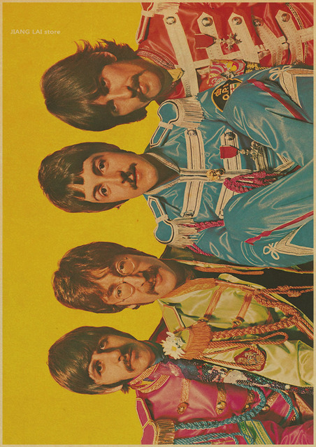 Matte Kraft Paper Bar Decor Vintage The Beatles retro Poster Wall Chart vintage Paper home decor