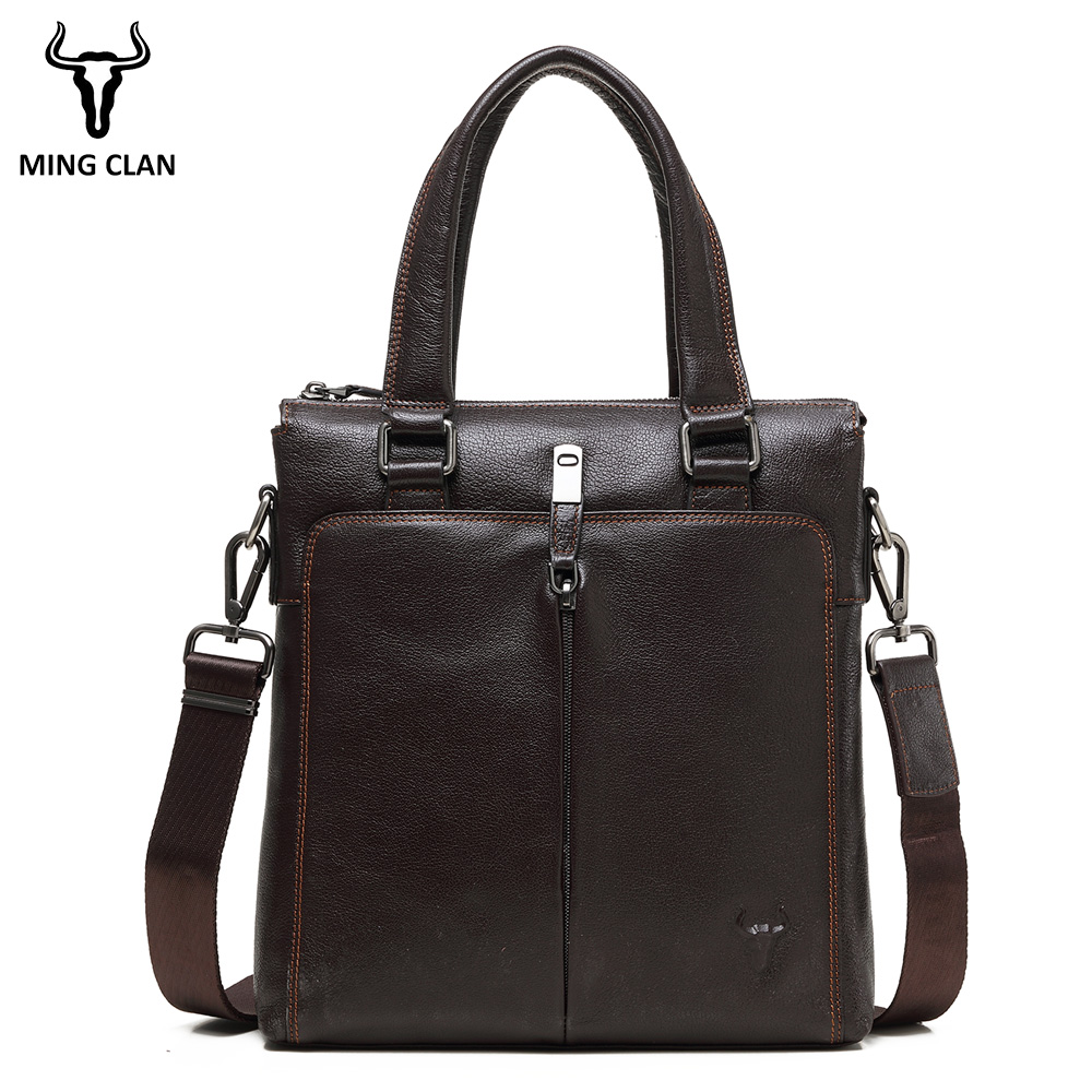 Mingclan 2018 Men's Business Bag Leather Briefcase Male Fashion Shoulder Bags Luxury Genuine Leather Handbag Men Crossbody Bag