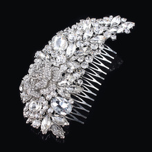 Wedding Bridal Hair Accessories Fashion Rhinestone Crystal Flower Hair Comb bijoux cheveux de tete