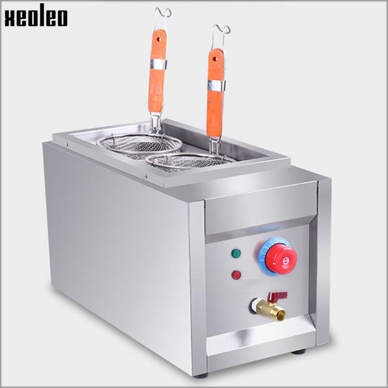 Xeoleo Electric Pasta cooker Commercial Electric Fryer 6L Noodle machine Stainless steel Noodle Boiler 220V 2500W 30-100 degree