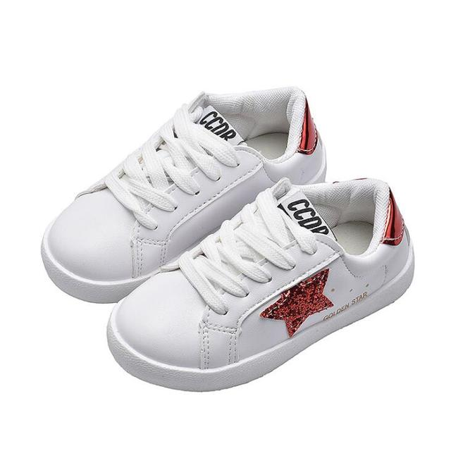 fd1389b86e35 New Bling Sequin Star Toddler Kids Leather Sneakers Trainers Brand Golden  Star Boys Girls Casual Shoes Children White Shoes