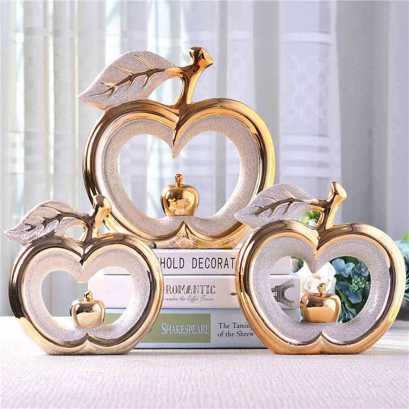 ceramic apple home decor crafts room decoration ceramic handicraft ornament porcelain figurines christmas articles decorations