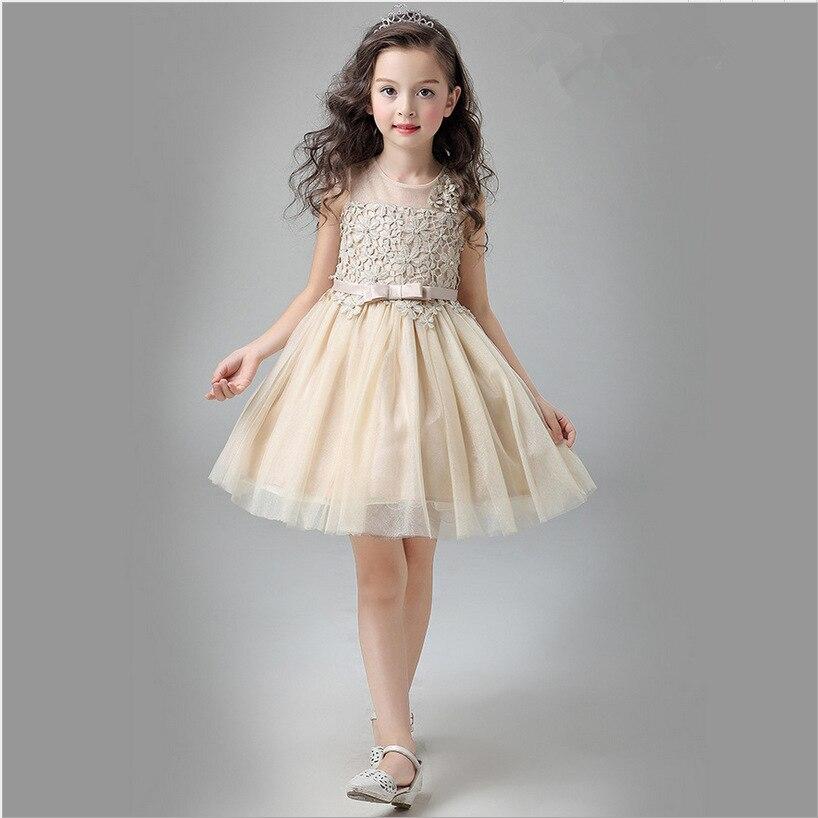 c634dd1b8d Luksusowe słodkie szampana kwiat dziewczyny Princess Dress wydajność pokaż dzieci  dziecko eleganckie suknie ślubne urodziny wieczorowa