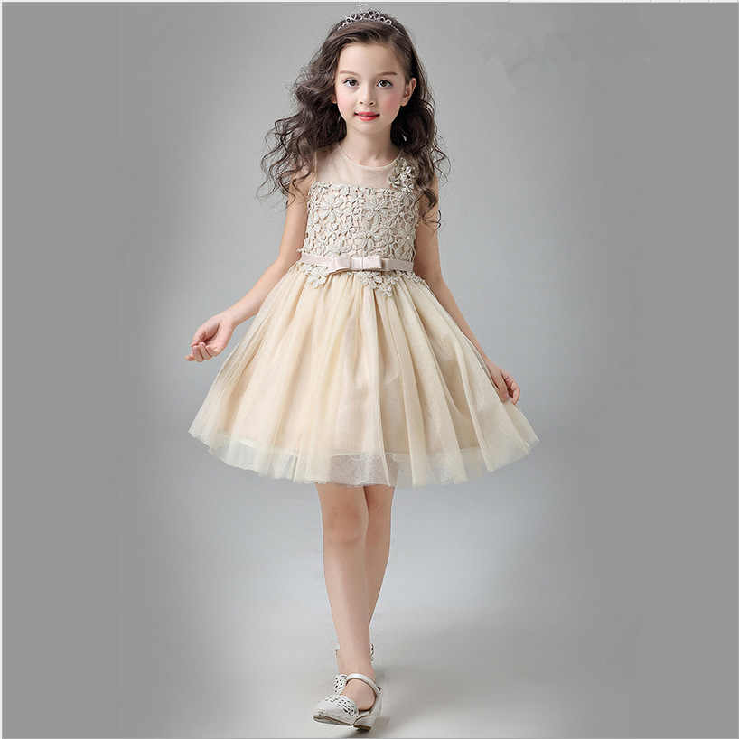 e31343e3749 Luxury Cute Champagne Flower Girls Princess Dress Performance Show Kids Baby  Elegant Wedding Dresses Birthday Party