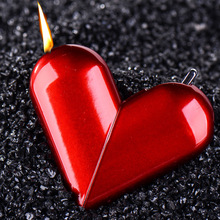 Creative Personality Folding Rotary Heart-shaped Gas Flame Lighter Cigarette Smoking Accessory Gift For Women