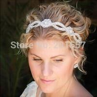 2017 yeni Toptan ve Perakende moda el yapımı çiçek şekli kristal boncuk gelin düğün parti elastik hairband saç aksesuarları