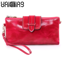 Genuine Leather large Capacity Women Wallets Solid color Oil Wax Cowhide zipper hasp mini Chain Small